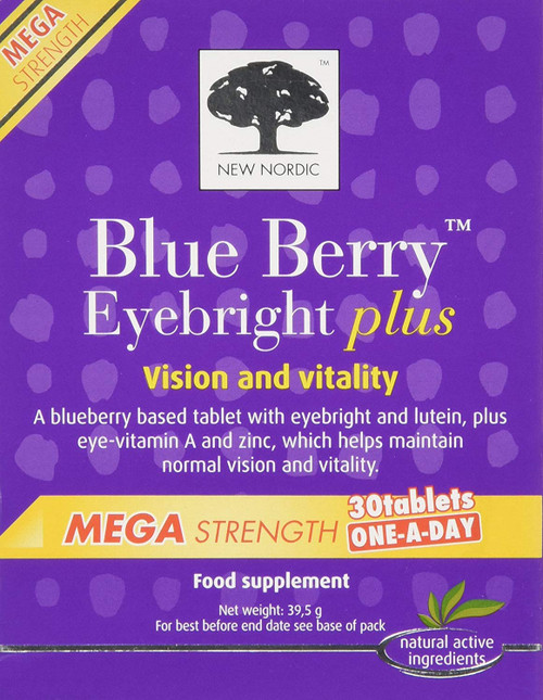 New Nordic Blue Berry Eyebright Plus Mega Strength 30 Tablets