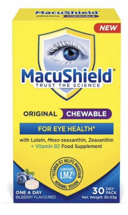 MacuShield Original Chewable Bilberry Flavour 30 Tablets 30 Day
