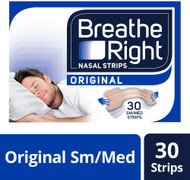 Breathe Right Snoring Congestion Relief Nasal Strips 30 Strips Small/Medium