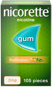 Nicorette Fruitfusion Nicotine Gum, 4mg, 105 Pieces (Stop Smoking Aid)