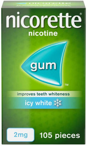 Nicorette Icy White Nicotine Whitening Gum, 2mg, 105 Pieces (Stop Smoking Aid)