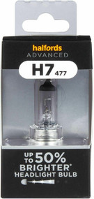 H7 477 Car Headlight Bulb Halfords Advanced 50% Brighter Single Pack