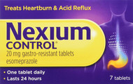 Nexium Control Heartburn and Acid Reflux Relief Tablets, 20mg Gastro-Resistant Esomeprazole 7 Tablets