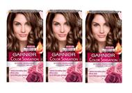 Garnier Color Sensation Hair Dye Permanent 5.0 Luminous Brown x 3