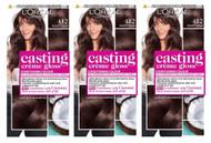 L'Oréal Paris Casting Crème Gloss Semi-Permanent Hair Dye 412 Brown Iced Cocoa x 3