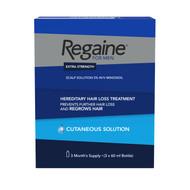 Regaine For Men Extra Strength Cutaneous Scalp Solution 3 x 60ml (3 Months Supply)