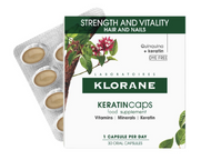 Klorane Hair and Nail Supplement Caps with Keratin for Healthy Hair - 30 days