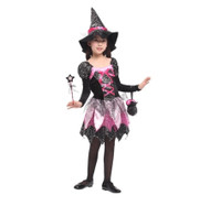Girl Sparkly Witches Costume with Pointy Hat