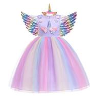Girls Rainbow Unicorn Dress Outfit with Headband & Wings - Purple