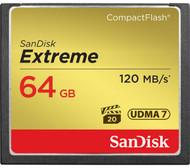 SanDisk Extreme Compact Flash 64GB Memory Card UDMA7 120 MB/s