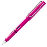 Lamy Safari Pink Fountain Pen Medium Nib Blue Ink Cartridge Case