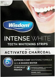 Wisdom - Intense White Teeth Whitening x6 Strips with Activated Charcoal