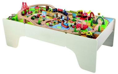 Wooden Train Table with 100pc Train Set