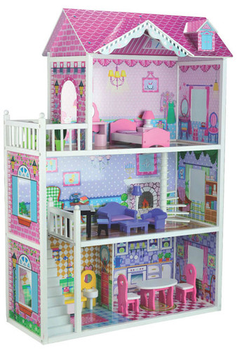Large Kids Wooden Doll House with accessories