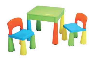 Monarch Deluxe Plastic Table & 2 Chairs - Multi Coloured