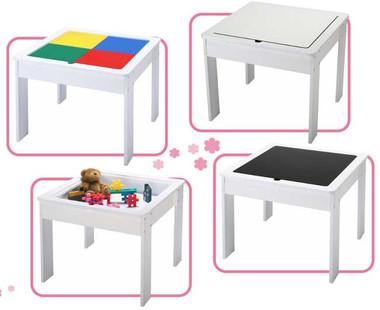 Monarch Deluxe Children's Block Table with Blackboard/Whiteboard
