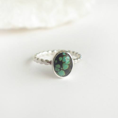 Turquoise 68,  All Silver - Size 5 - 6.5