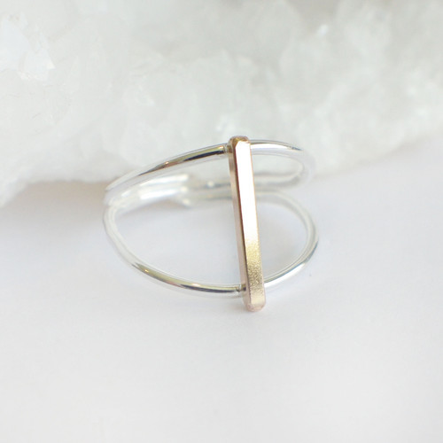 Double Band Bar - Silver & Gold