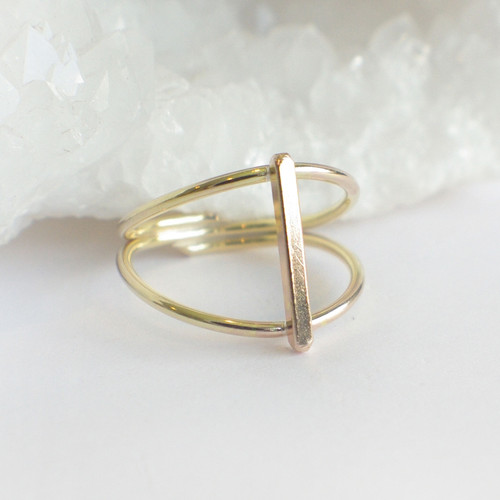 Double Band Bar - Gold