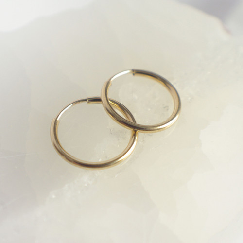 14mm Small Hoops - Gold