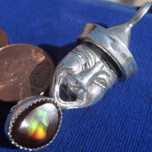 Sterling Drama Pendant 4.39 carat Fire Agate 1.53 c Opal from Mexico New Jewelry