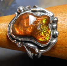 New Sterling Silver and Fire Agate Gem ring size 7 3/4