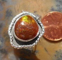 New Sterling Silver and Fire Agate Gem ring size 5 7/8