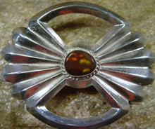 Large Sterling Silver and Fire Agate Belt Buckle  New Jewelry  Sand Cast Design