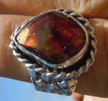 Mens Ring size 9 1/3  Sterling Silver 7.81 ct Fire Agate Gemstone New Jewelry