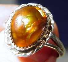 Ladies Sterling Silver 4.80 ct Fire Agate Gemstone Ring size 9 3/4 New Jewelry
