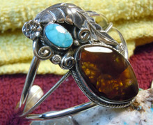 New Sterling Silver Fire Agate Turquoise Bracelet By Navajo E. Richards
