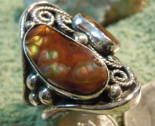New Mens Fire Agate Sterling Silver Ring by Navajo Lorenzo James Size 10