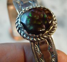 Unisex Sterling Silver Bracelet Cuff with Fire Agate Gemstone