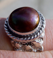 New Mens Sterling Silver 7.6 cts Fire Agate Gemstone Ring Size 8 1/2