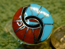Ladies Turquoise Coral Inlay Hummingbird Ring Quandelacy Size 6 2/3