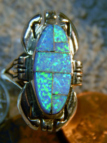 Ladies Silver Created Opal Inlay Ring by Navajo Ray Jack Size 6 1/4