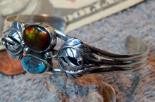 New Sterling Bisbee Turquoise Fire Agate Bracelet By Navajo Lorenzo James