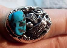 Mens New Sterling Silver Turquoise Eagle Ring by Mike Thomas size 10 1/4