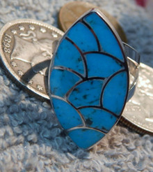 New Turquoise Fish Scale inlay Ring by Zuni Carol Haloo size 6 3/4