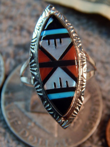 Ladies Sterling Turquoise Coral MOP Inlay Ring Zuni Gladys Lamy size 12