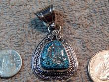 New Sterling Kingman  Spiderweb Turquoise Pendant Navajo Lorenzo James