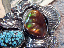 Sterling Silver Fire  Agate Spiderweb Turquoise Pendant Navajo Lorenzo James