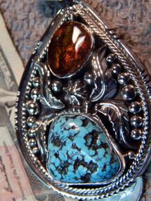 Sterling Silver Fire Agate Spiderweb  Turquoise Pendant Navajo Lorenzo James
