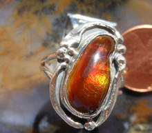 New Sterling Silver & Fire Agate Gemstone ring sz  7 1/2                    264a