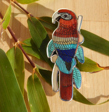 Turquoise Lapis Sterling Silver Macaw Inlay Pendant Zuni Harlan Coonsis signed