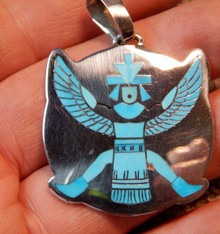 Turquoise Sterling Silver Knife Wing Inlay Pendant Zuni Harlan Coonsis Signed