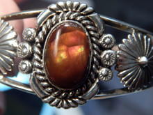 New Solid Sterling Silver Navajo Fire Agate Bracelet  Lorenzo James