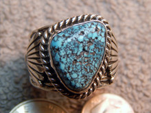 Mens Black Spiderweb Turquoise Sterling Ring Navajo Russel Sam Size 13 1/2