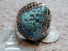 Mens Black Spiderweb Navajo Turquoise Sterling Ring Lorenzo James size 14 1/4