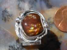 New Sterling Silver and 5.9ct Fire Agate Gem ring size 4 1/4